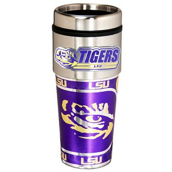LSU Tigers Stainless Steel Metallic Travel Tumbler (Lsu Team)