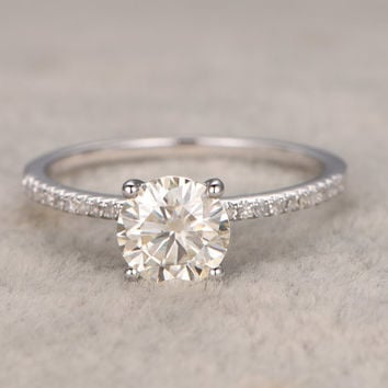 1.3ct brilliant Moissanite Engagement ring White gold,Diamond wedding band,14k,7mm Round Cut,Gemstone Promise Bridal Ring,Anniversary