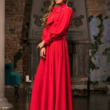 Red evening dress, long evening dress 2016, special occasion formal dress, handmade classic dress, ball gowns, prom dress with long sleeves