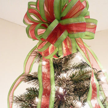 Large Lime Green stripe with sheer red middle and silver edging Ribbon  Christmas Tree topper bow