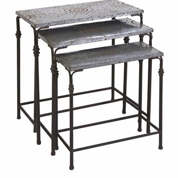 IMAX Gilbert Galvanized Nesting Tables (Set of 3)