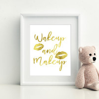 Printable art MAKEUP PRINT Makeup print,wall art,home prints,Prints and quotes,gold lips print,gold bedroom print,bedroom decor print,art
