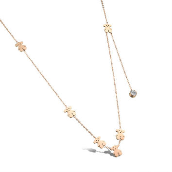 Clavicle pendant with single diamond Rose gold plated titanium steel Lady's tassels little bear necklace