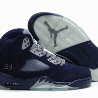 Cheap Air Jordan 5 Retro Metallic Silver Navy Shoes