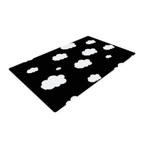 "Suzanne Carter ""Clouds"" Black White Woven Area Rug"