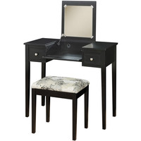 Walmart: Linon Home Decor Vanity Set with Butterfly Bench, Black