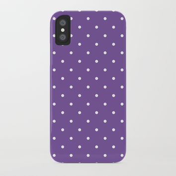 Small White Polka Dots with Purple Background by CoolFunAwesomeTime
