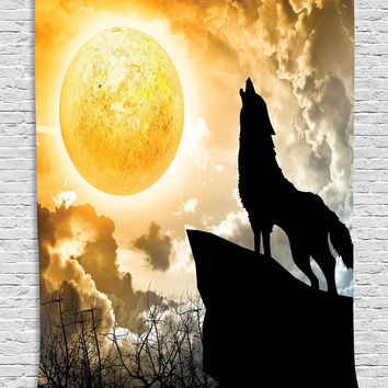 Wolf Moon Rising Wall Boho Tapestry
