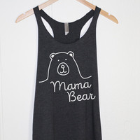 Mama Bear Tank Top in Heather Black-Mother T-shirt - Cute Design - Kids Family Gifts Presents for Mom Mommin - Hand drawing-Cup of tee