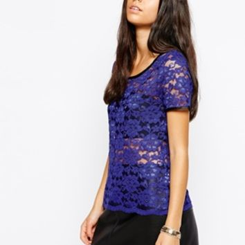 Lashes of London Crop Lace Top - Blue