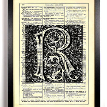 Letter R Block Filigree Typography Repurposed Book Upcycled Dictionary Art Vintage Book Print Recycled Dictionary Page Buy 2 Get 1 FREE