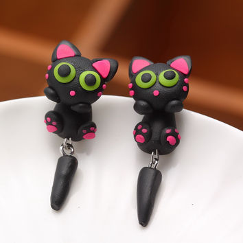 Pameng New Fashion Jewelry Cute Handmade Polymer Clay Lovely Cat Animal Stud Earrings For Women Gifts 0501