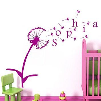 Wall Decals Personalized Name Decal Vinyl Sticker Dandelion Flower Floral Pattern Girl Baby Children Nursery Kid Bedroom Decor Art Murals MN5