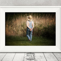 Farmer Print, Youth Image, Childrens room, Nursery Prints, Country Western Image, Western Decor, Country Decor, Vintage Photo, Kids Room