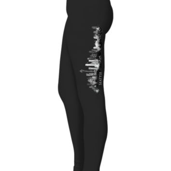 SEATTLE Washington Watercolor City Skyline Designer Women Ladies Black Leggings W/Text by Highrise Gypsy
