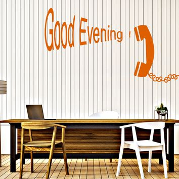 Wall Sticker Vinyl Vintage Telephone Handset Good Evening Quote (n619)