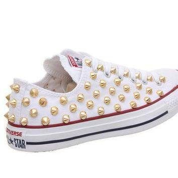 DCKL9 Studded Converse, Converse White Low Top with Gold Cone Studs by CUSTOMDUO on ETSY