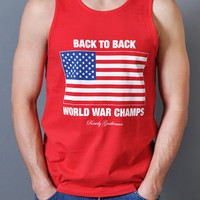 Back to Back World War Champs Tank Top - Red | Rowdy Gentleman