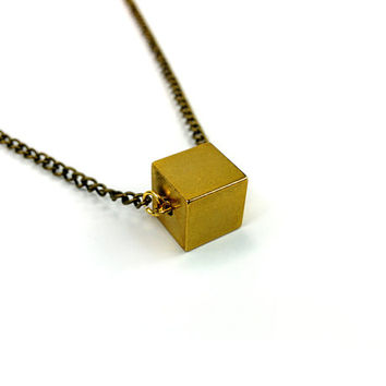 Beautiful Solid Brass Cube Necklace, Geometric, Minimal, Simple, Gold Plated, Rose Gold Plated, Silver Plated, Bronze, Black Chain Options