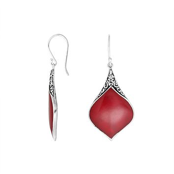 AE-1073-CR Sterling Silver Earring With Coral