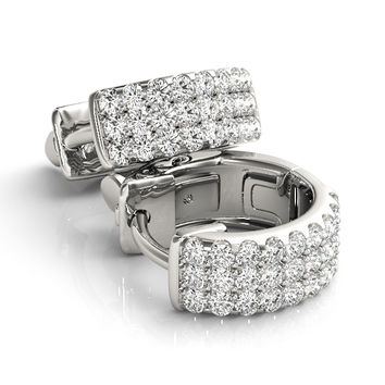 Diamond Earrings - Huggies Triple Row Hoop Earrings - FEA15
