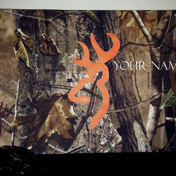 Fabric wrapped Canvas. Hand-Painted Art. Browning Symbol, Hunting, realtree, camo canvas- Size 12x16