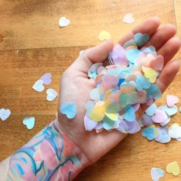 heart confetti valentines day party decor pastel rainbow conversation heart cand