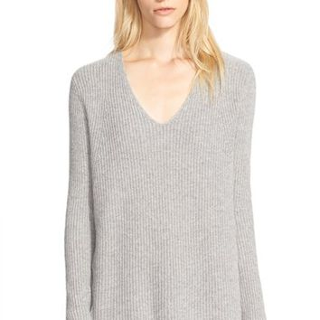 Women's Vince Ribbed V-Neck Cashmere Sweater,