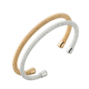 1 Piece -G009  Hot Gold and Silver Simple Mesh Bangles For Women Fashion Jewellery Bangles Female High Quality Low Price silver