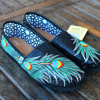 Black Glitter Peacock Feather TOMS shoes