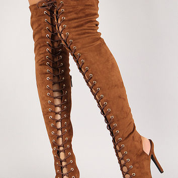 Breckelle Lace Up Back Cut Out Over The Knee Boot