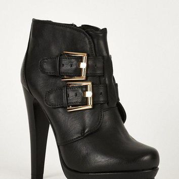 Double Buckle Strap Chunky High Heel Thick Platform Ankle Boots