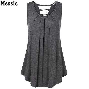 Summer Sleeveless Open Back Hollow Out Solid Tee Women Tanks Long Loose Tunic Casual Vest Back V-Neck Female Knitted Tops