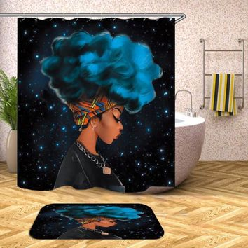 Purple Afro With African Woman Hair Shower Curtain Polyester Fabric Printing Bathroom Curtain Waterproof Home Product A30
