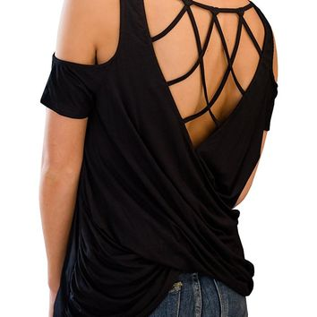 Cold Shoulder Criss Cross Strappy Wrap Backless Casual T Shirt