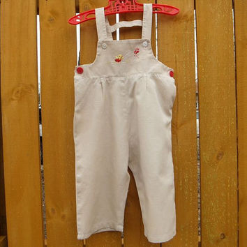 1950s 60s Vintage Young Togs Toddler Overalls / Chick flying kite / Romper / Onesuit