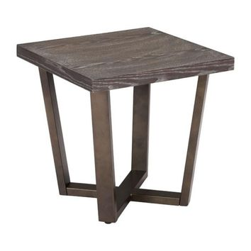 ZUO Modern Brooklyn Side Table Gray Oak & A.Brass 100663 Living Consoles