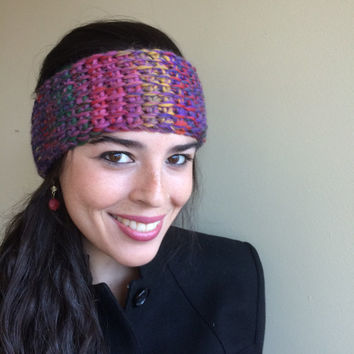 EAR WARMER, Headband, Crochet, Ombre Bloom  , 30