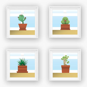 Set of 4 Succulent Prints - Succulent Posters - Succulent Print Set - Cactus Print - Bonsai Print - Wall Art Set - Plant Decor - Office Art