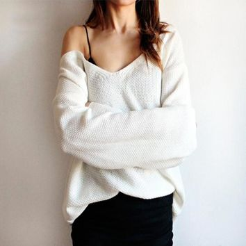 Plus Size Knit Tops V-neck Pullover Winter Sweater [10944602183]