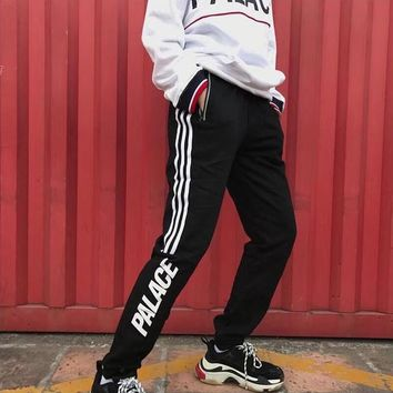"""Palace"" Unisex Fashion Reflective Zip Stripe Letter Print Sweatpants Couple Leisure Pants Trousers"