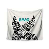 "Pom Graphic Design ""United Love"" Black Tribal Wall Tapestry"