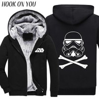 2017 Winter New Star Wars Yoda/Darth Vader Men Thicken Hoodie Cool Print Man Outerwear Funny Warm Coat Casual Thermal Sweatshirt
