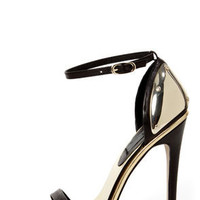 Mia Limited Edition Lenny Black & Gold Plated High Heel Sandals