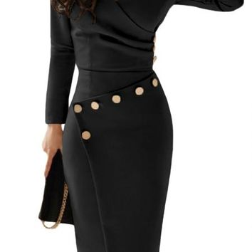 Chic Asymmetric Button Detail Black Ruched Midi Dress