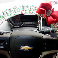 Christmas Steering Wheel Covers with Holiday Elves and Bow of  Your choice
