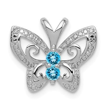 Sterling Silver Blue Topaz And Diamond Butterfly Pendant