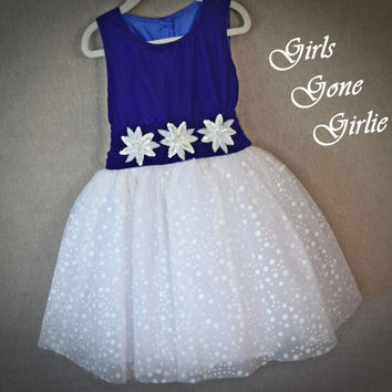 Girls Christmas dress , sleeveless holiday dress , blue velvet white snowflake skirt , fancy special occasion dress , ready to ship size 6