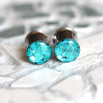 Aqua Glitter Plugs, Glitter Gauges, Sparkly Plugs, Summer Plugs - sizes 0g, 00g, 7/16, 1/2, 9/16, 5/8, 3/4, 7/8, 1""