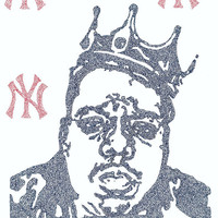 The Notorious B.I.G. Lyric Poster - 24x36 - Custom Handmade with Lyrics - Blue and Red - Artist - Biggie - Rap Music - Musician - New York